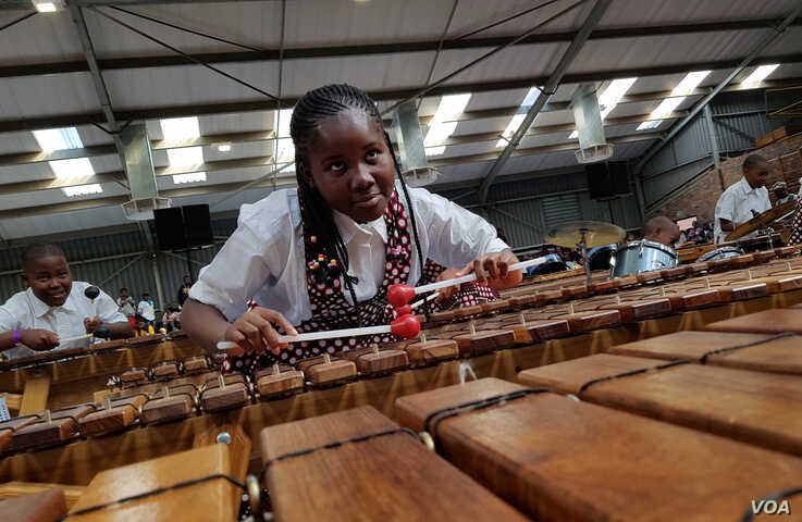 Musicians participate in the Education Africa International Marimba and Steelpan Festival in South Africa, July 27 and 28, 2019. (Marize de Klerk/VOA)
