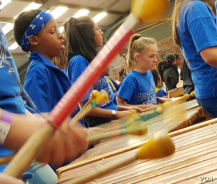 Students participate in the Education Africa International Marimba and Steelpan Festival in South Africa, July 27 and 28, 2019. (Marize de Klerk/VOA)