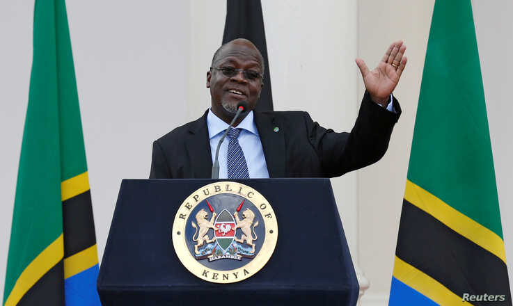 FILE - Tanzania's President John Magufuli addresses a news conference during his official visit to Nairobi, Kenya, Oct. 31, 2016.
