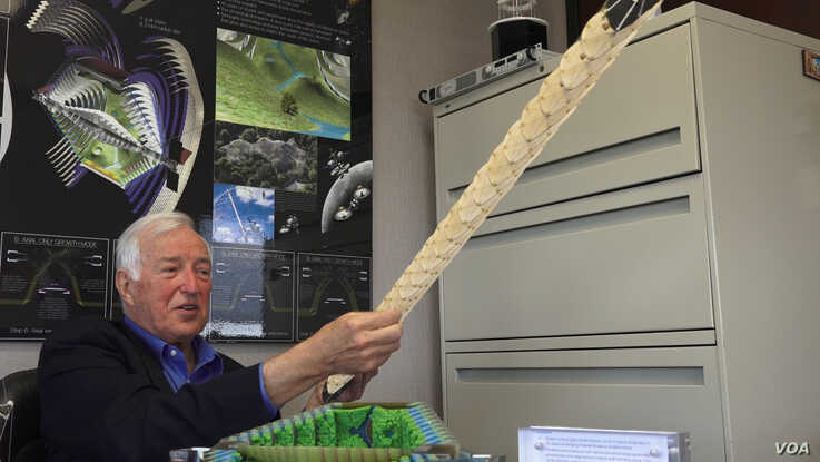 Robert Skelton shows an example of a lightweight wing structure built with the concept of tensegrity, using ultra-high-molecular weight polyethelene, a polymer used in some fishing lines and body armor.  Skelton says it is the same material that would be used to build the space habitat.