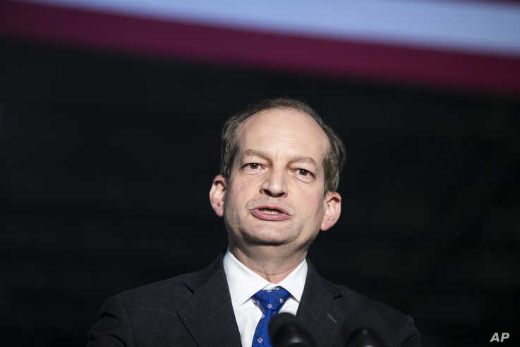 U.S. Labor Secretary Alexander Acosta speaks at JLS Automation, in York, Pennsylavania, June 6, 2019.