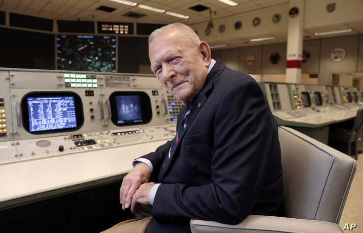 Gene Kranz, aerospace engineer, fighter pilot and the most prominent of the Apollo era flight directors and later Director of NASA Flight Operations, at the console where he worked during the Gemini and Apollo missions, June 17, 2019.