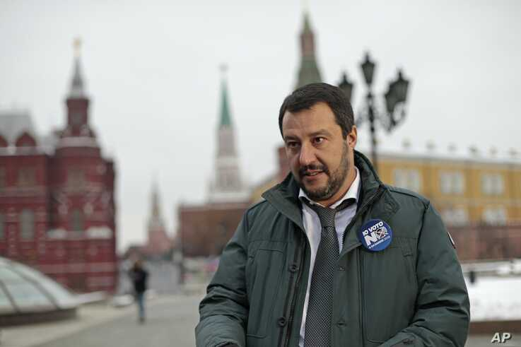 Italy's Lega leader Matteo Salvini speaks to the media near Red Square outside the Kremlin in Moscow, Russia, Nov. 18, 2016.