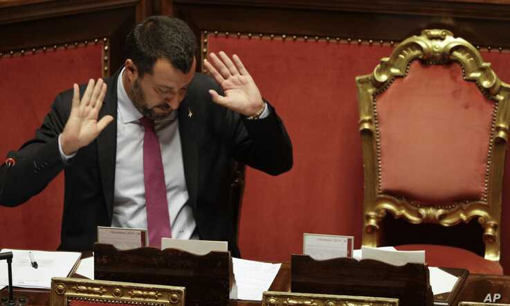 Italian Deputy Premier and Interior Minister, Matteo Salvini, gestures as he addresses the Senate in Rome, July 11, 2019.