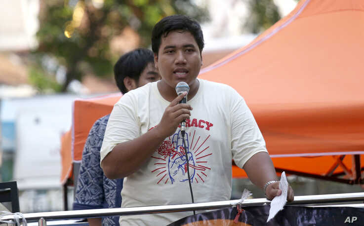 Pro-democracy activist Sirawith Seritiwat speaks during a gathering marking the fourth anniversary of the military take-over of Thailand's government, in Bangkok, May 22, 2018. Sirawith is the second activist to have been assaulted in recent weeks.