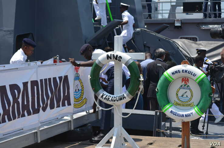A Nigerian Navy vessel is seen in Ghana's Sekondi naval base ahead of a maritime defense conference in the capital, Accra. Nigeria has increased its patrols to combat piracy. (Stacey Knott/VOA)