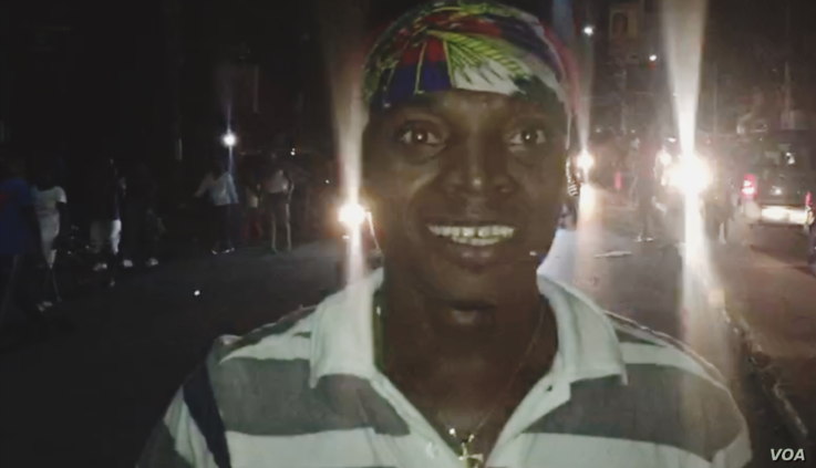 A Haitian soccer fan who celebrated the team's victory in the streets of Petionville, a suburb of the capital, Port au Prince. (M. Vilme / VOA Creole)