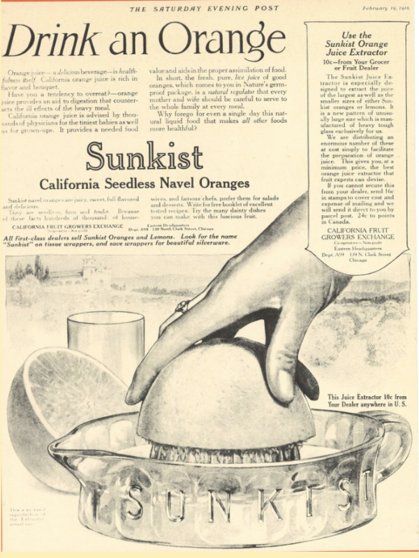 Advertising worker Albert Lasker came up with an ad that pushed drinking orange juice in an effort to sell more oranges.