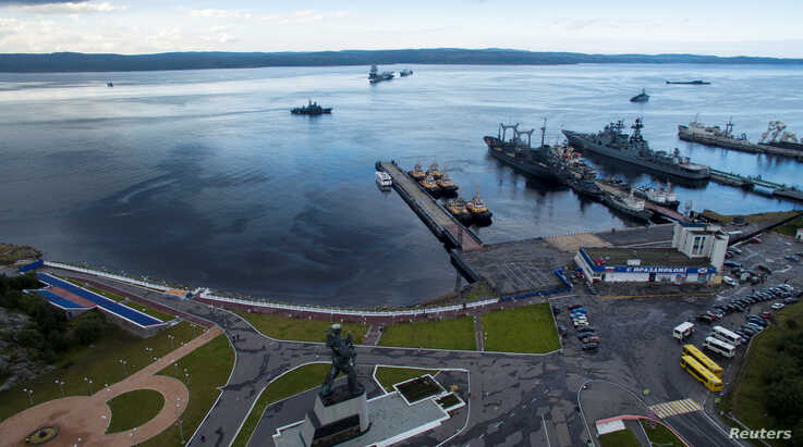 An aerial view shows Russian navy ships at the port of Severomorsk, Russia, July 30, 2016.