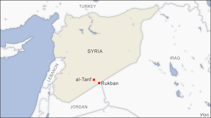 Map of al-Tanf and Rukban, Syria