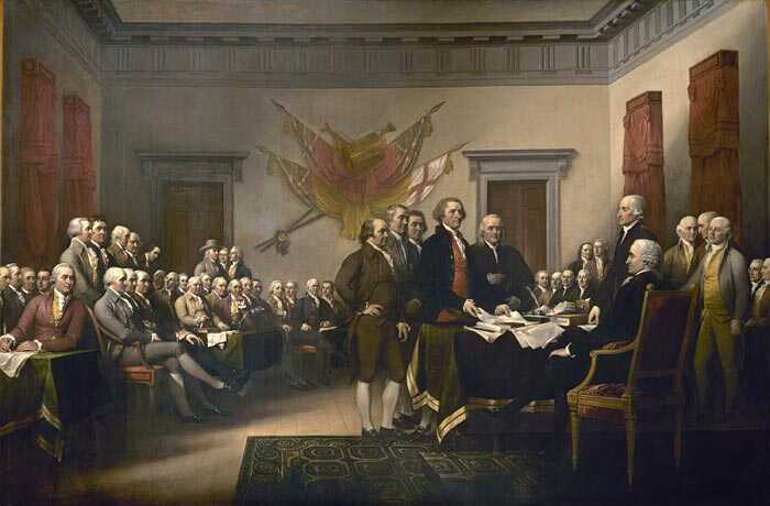 """Congress at the Independence Hall, Philadelphia, July 4, 1776."" Trumbull painted a scene that never took place."