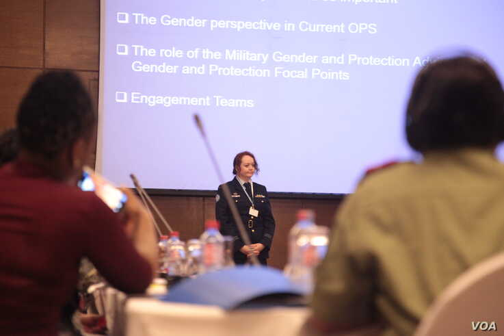Fiona Pearce, a U.N. military gender adviser and Australian Air Force squadron leader, said increasing the number of women in peacekeeping forces was crucial. (Stacey Knott/VOA)