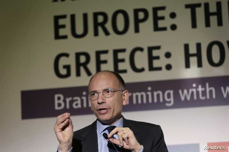 Former Italian Premier Enrico Letta gives a speech during an economic conference in Athens, May 14, 2015.