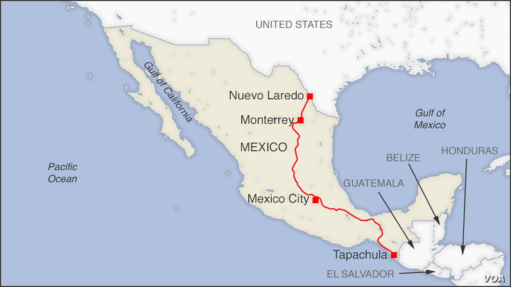 Map of bus route from Nuevo Laredo to Tapachula, Mexico