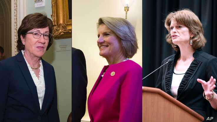 From left, Senators Susan Collins, Shelley Moore Capito and Lisa Murkowski.