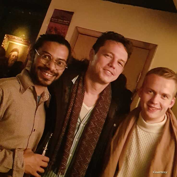 Olli Soikkeli with Rajiv Jayaweera, left, and Paul Sikivie, center, in a photo taken at Barbes, a bar and performance space in Brooklyn, N.Y., February 2019. (Courtesy photo)