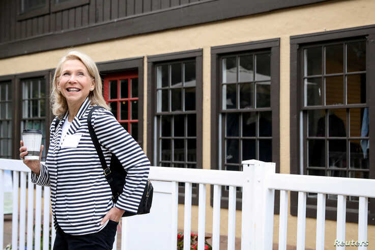FILE - Shari Redstone, vice-chair of CBS Corporation and Viacom, attends the annual Allen and Co. Sun Valley media conference in Sun Valley, Idaho, July 10, 2019.