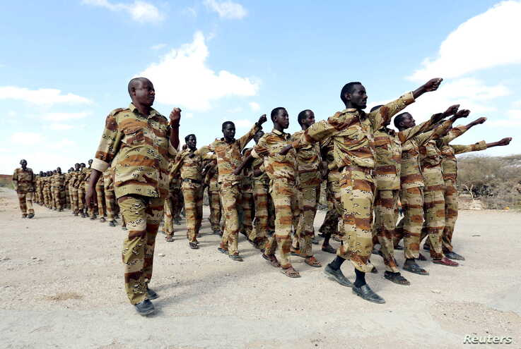 FILE - Somalia soldiers take part in a military exercise, March 17, 2014. A new army chief was appointed on Aug. 22, 2019.