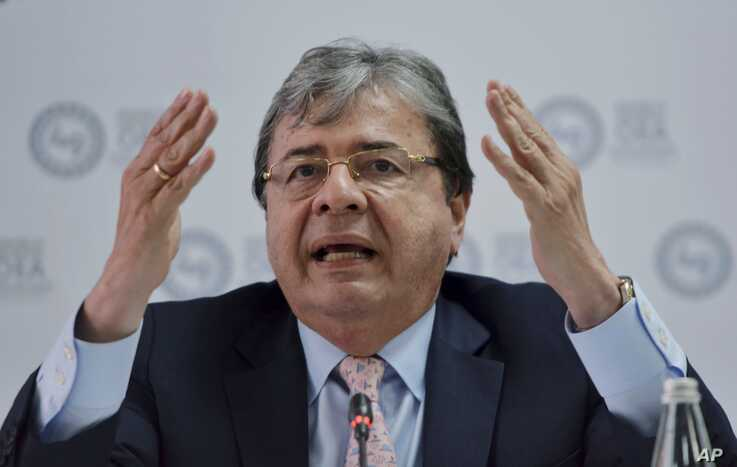 Colombia's Foreign Minister Carlos Holmes Trujillo gives a press conference during the 49th OAS General Assembly in Medellin, Colombia, June 26, 2019.