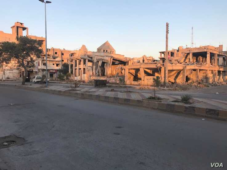 Raqqa's main church was destroyed during the battle against IS in 2017, in Raqqa, Syria, July 20, 2019. (S. Kajjo/VOA)