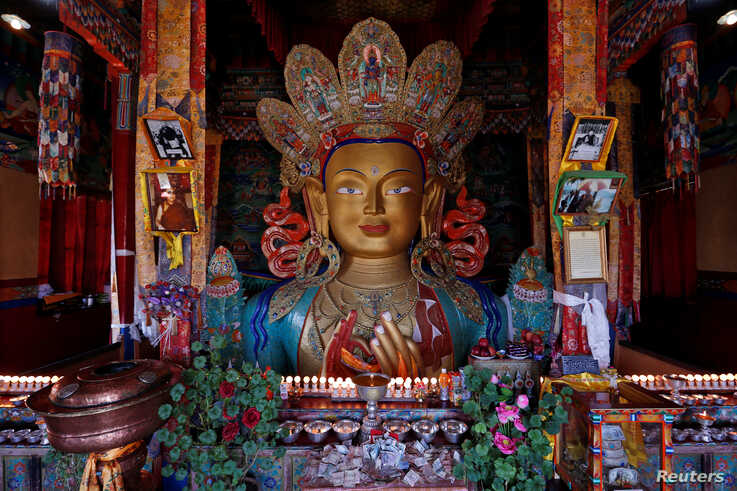 FILE - A Maitreya Buddha is seen at Thiskey Monastery near the town of Leh in Ladakh, India, Sept. 26, 2016.