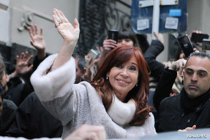 Former president Cristina Fernandez de Kirchner leaves a building after a meeting with presidential candidate Alberto Fernandez, in Buenos Aires, Argentina, Aug. 12, 2019.