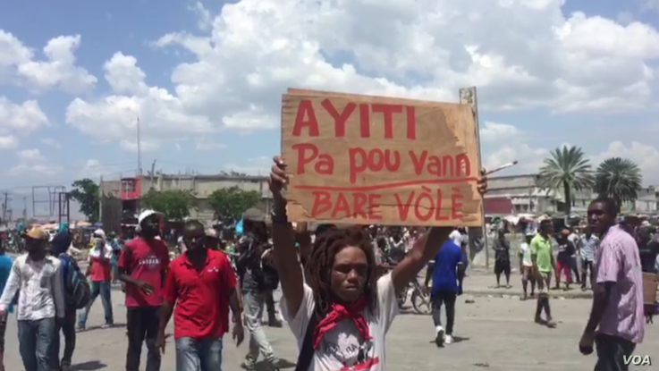 Protesters camped out in front of Haiti's parliament before the deputies arrived for the impeachment vote, Aug. 21, 2019.