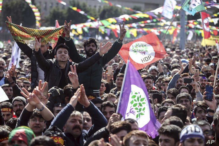 Thousands of supporters of pro-Kurdish Peoples' Democratic Party, or HDP, gather to celebrate the Kurdish New Year and to…