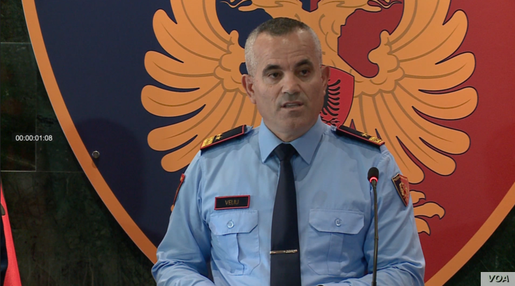 Albanian Police Chief Ardi Veliu reveals the identities of an alleged Iranian terrorist cell in a press briefing in Tirana on Oc