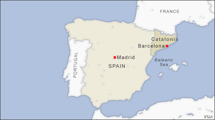 Map of Catalonia Spain