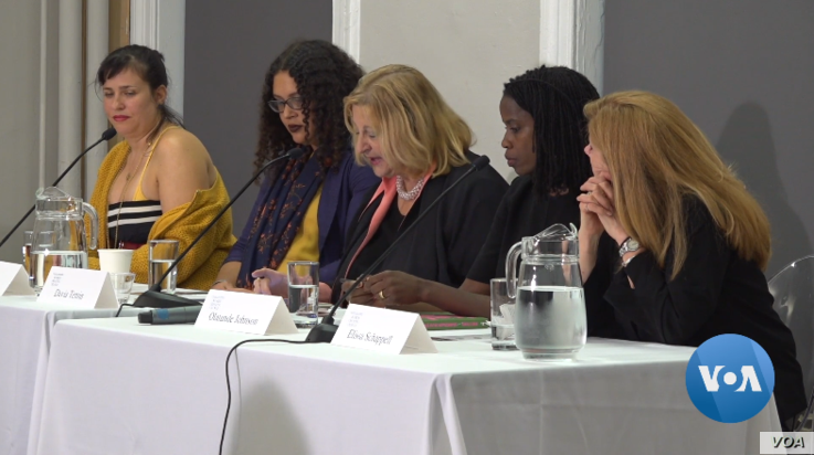 Professor Olatunde Johnson (second right), businesswoman Davia Temin (center), and author Shelly Oria (far left) were among the panelists at a recent #MeToo panel discussion at Columbia University in New York, Oct. 9, 2019.