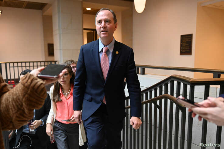 U.S. House Intelligence Committee Chair Rep. Adam Schiff (D-CA) leaves a hearing with Lt. Col. Alexander Vindman, director for…