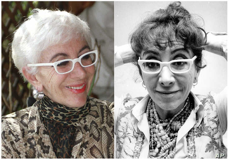 This combination photo shows Italian film director Lina Wertmuller at her home in Rome, Italy, June 7, 1993, left, and Wertmuller on Jan. 18, 1978.