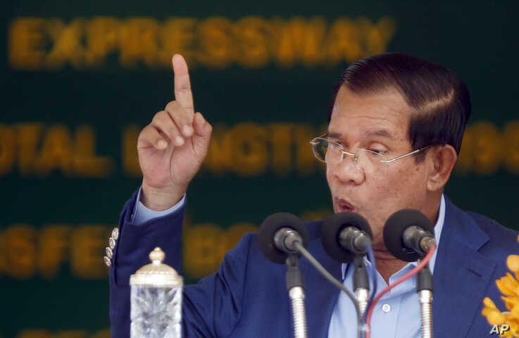 FILE - Cambodia's Prime Minister Hun Sen delivers a speech during a ceremony in Kampong Speu province, south of Phnom Penh, Cambodia, March 22, 2019.