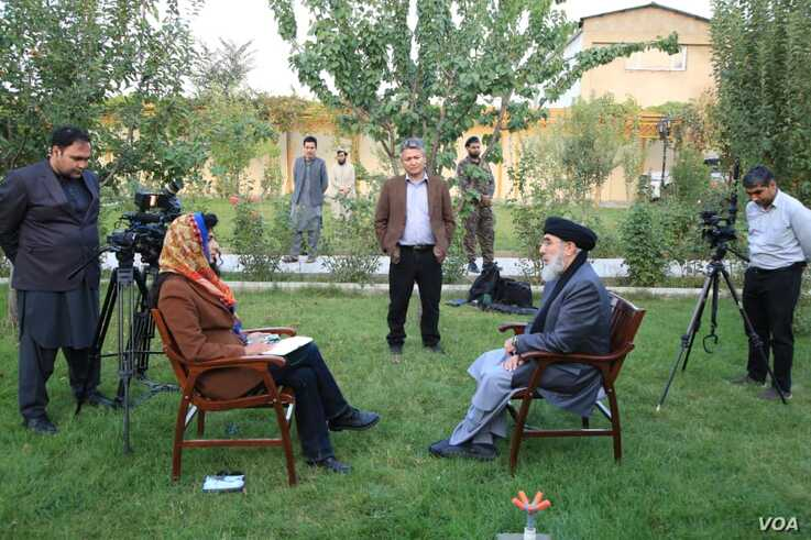 Gulbuddin Hekmatyar speaks to VOA on the grounds of his home in Kabul, Afghanistan, Oct. 7, 2019.