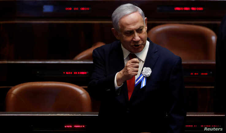 FILE - Israeli Prime Minister Benjamin Netanyahu attends the swearing-in ceremony of the 22nd Knesset, the Israeli parliament, in Jerusalem, Oct. 3, 2019.