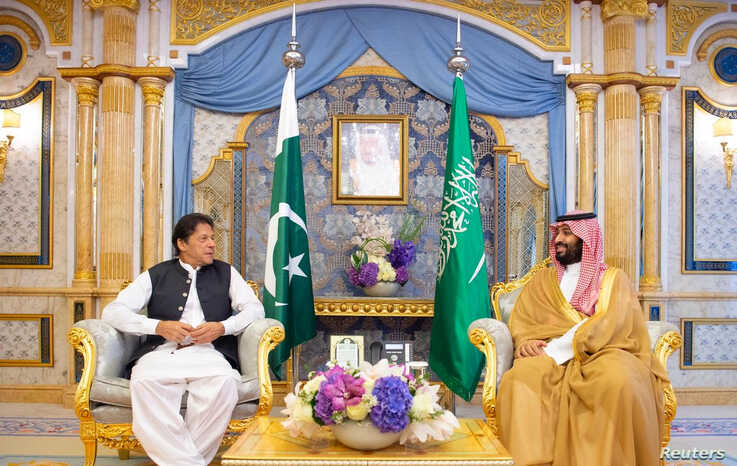 FILE - Pakistan's Prime Minister Imran Khan meets with Saudi Arabia's Crown Prince Mohammed bin Salman, in Jeddah, Saudi Arabia, Sept. 19, 2019.