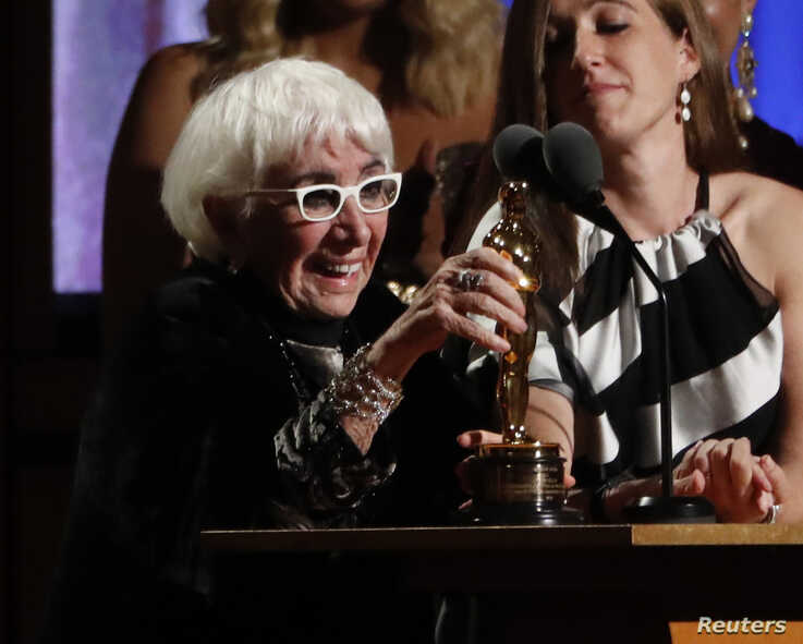 2019 Governors Awards - Show - Los Angeles, California, U.S., October 27, 2019 - Lina Wertmuller accepts her Honorary Award…