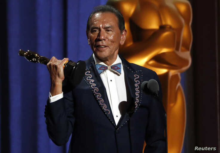 Wes Studi accepts his Honorary Award at the 2019 Governors Awards, Los Angeles, California, Oct. 27, 2019.