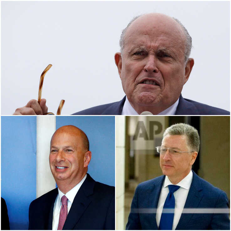 FILE - President Donald Trump's personal lawyer Rudy Giuliani, top, U.S. Ambassador to the EU Gordon Sondland, bottom left, and former U.S. special envoy on Ukraine Kurt Volker are seen in a combination photo. (AP, Reuters)