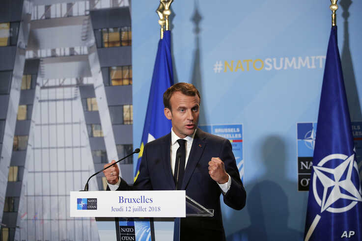 French President Emmanuel Macron speaks at a press conference after a summit of heads of state and government at NATO…