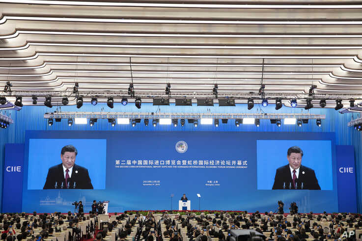 Chinese President Xi Jinping speaks at the opening ceremony for the China International Import Expo in Shanghai, Nov. 5, 2019.