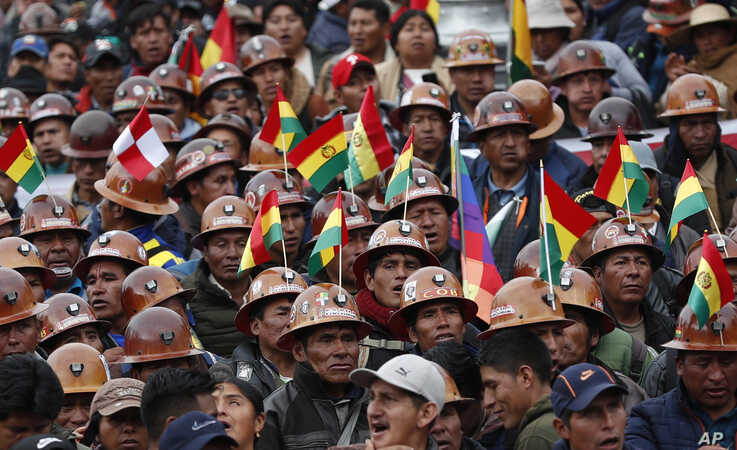 Supporters of Bolivian President Evo Morales march to show their support of his apparent reelection in La Paz, Bolivia, Nov. 5, 2019.