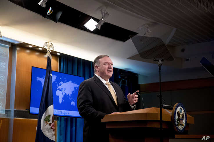 Secretary of State Mike Pompeo speaks at a news conference at the State Department in Washington, Nov. 18, 2019.
