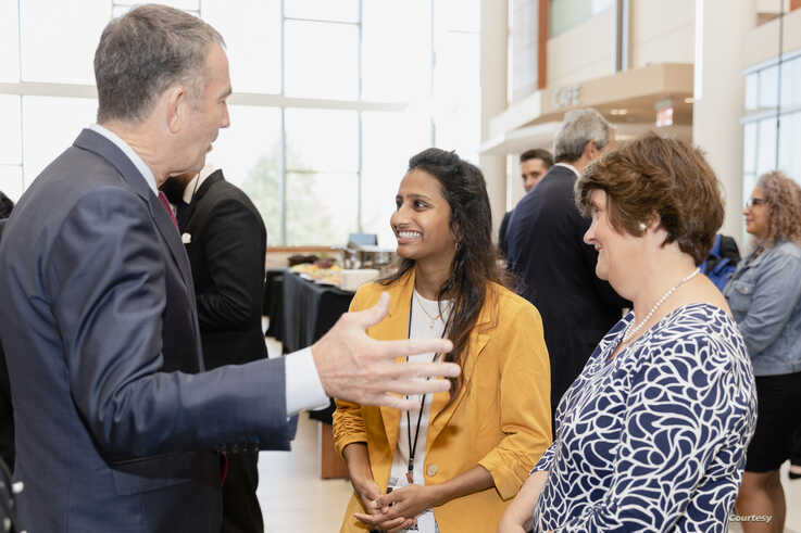 Governor Ralph Northam talks with George Mason University senior Dolica Gopisetty and President Anne Holton before an Amazon Web Services cloud computing degree launch event, Sept. 20, 2019. (Lathan Goumas/Office of Communications and Marketing)