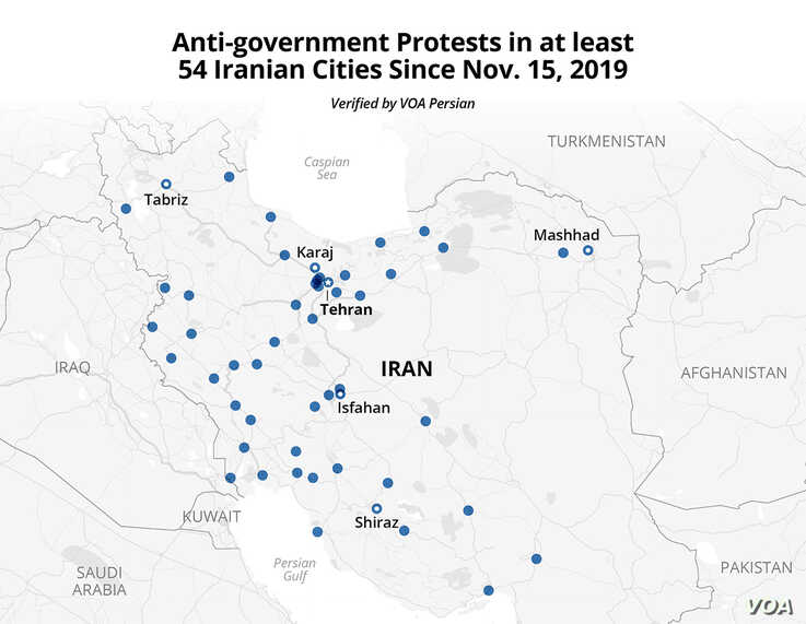 Anti-government Protests in at least 54 Iranian Cities