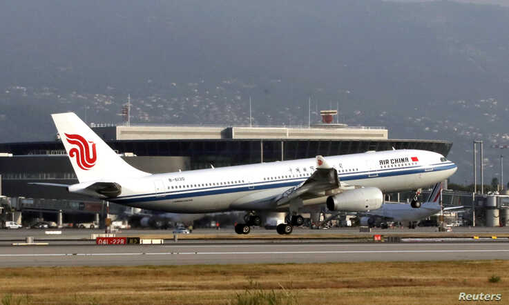 An Air China Airbus A330-200 lands at Nice Airport during the Air China's inaugural flight from Beijing to Nice, France, August…