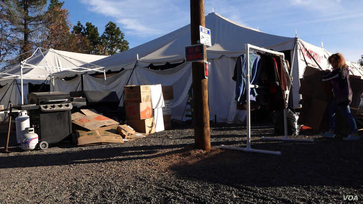 As a part of the Magalia Community Church distribution center, tents have been set up to house donated clothing, household items