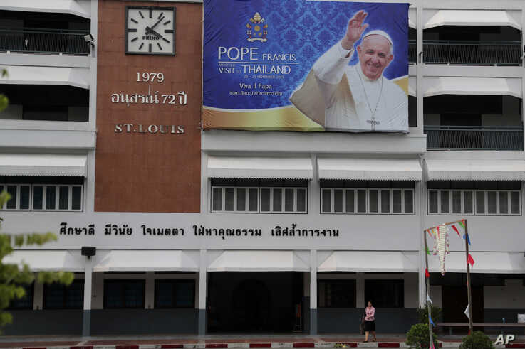 A banner with portrait of Pope Francis is displayed inside St. Joseph Convent School ahead of Pope's visit to Thailand, in Bangkok, Nov. 9, 2019.