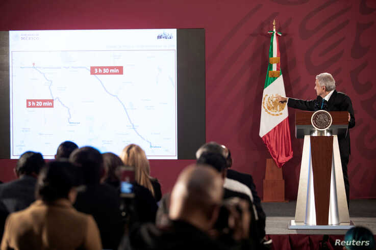 Mexico's President Andres Manuel Lopez Obrador shows a map of the area where members of a U.S. Mormon family were killed by unknown assailants near the U.S. border, at the National Palace in Mexico City, Mexico, Nov. 5, 2019. (Presidential Press Office)